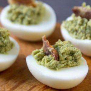 Deviled Eggs with Avocado & Bacon